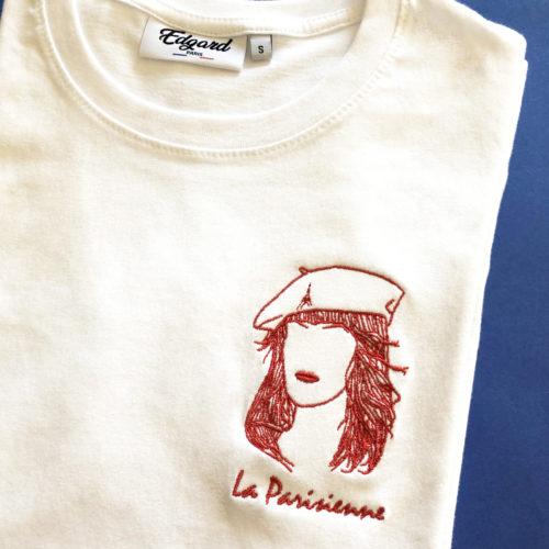 Tee-shirt brodé femme La Parisienne fabriqué en France