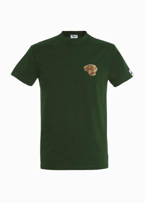 tee-shirt vert broderie chien edgard paris