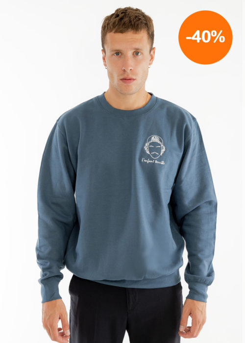 Sweat-shirt homme broderie bleu