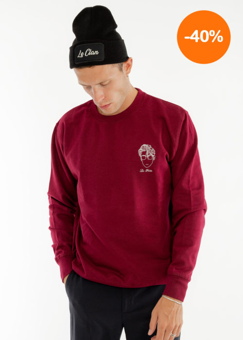 Sweat-shirt homme broderie bordeaux