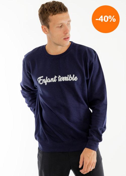 Sweat-shirt homme velours bleu