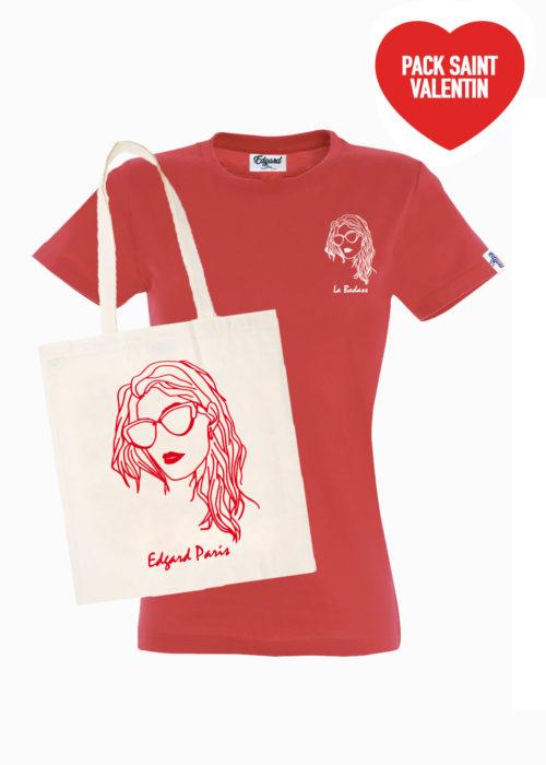 Saint-Valentin pack femme Tee-shirt totebag Edgard Paris
