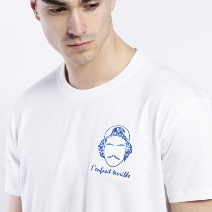 tee shirt homme blanc broderie l'enfant terrible Edgard Paris