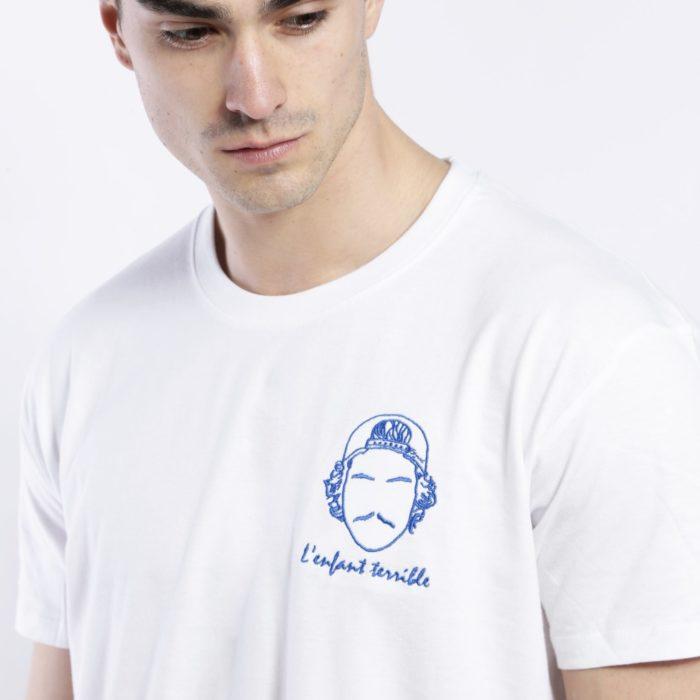 tee shirt homme blanc broderie l'enfant terrible Edgard Paris