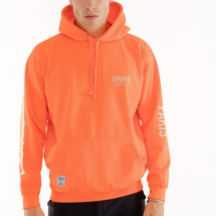 Hoodie réflectif orange flocage Edgard Paris