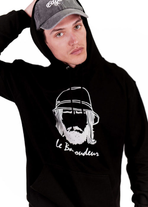 hoodie à capuche noir made in france brodé vêtements edgard paris