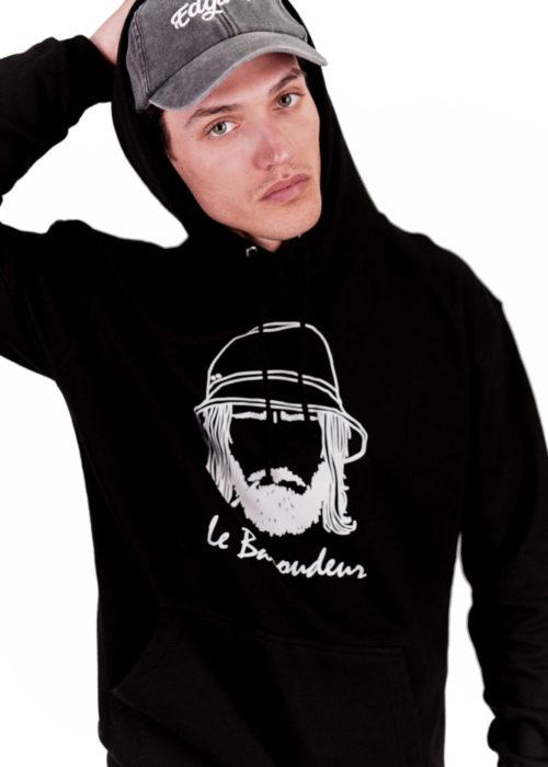 hoodie à capuche noir made in france brodé vêtements edgard paris