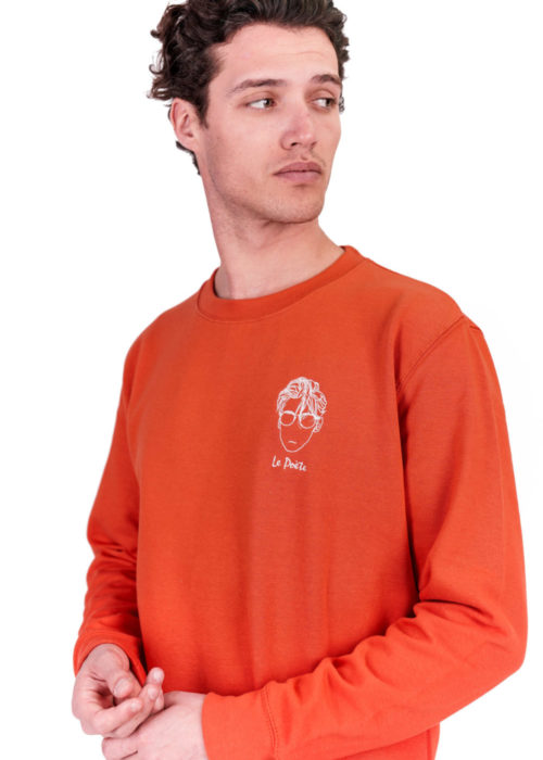 sweatshirt orange made in france brodé edgard paris