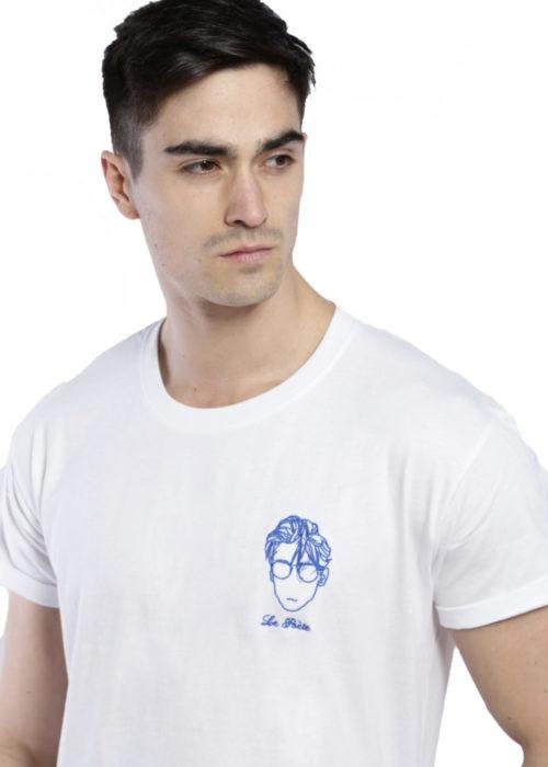 T-shirt brodé blanc poète