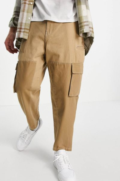 Pépite de la semaine Pantalon cargo patwork beige Bershka