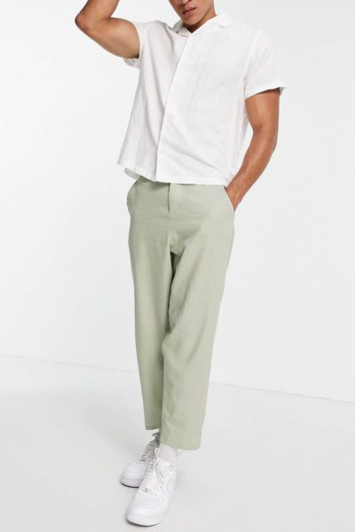 Pantalon oversize fuselé en lin vert sauge ASOS DESIGN